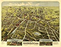 New Britain , Connecticut – パノラマMap 12 x 18 Art Print LANT-8831-12x18