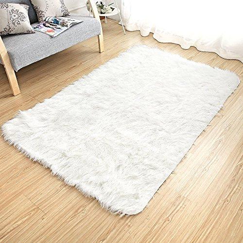 [해외]ViVashop 러그 매트 빨 부드러운 부드러운 인공 울 미끄럼 방지 기능 직사각형/ViVashop rag mat washable soft fluffy artificial wool rectangular with nonslip