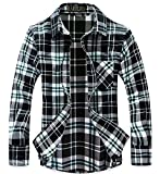 (ラロリオン)RAROLION ギンガムチェック ネルシャツ 長袖 メンズ(黒×緑, L)