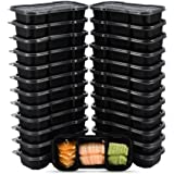 OTOR 16 Ounce Meal Prep Containers Stackable Bento Boxes 25 Sets Single 3 Compartments with Golden Airtight Lids Food Grade L