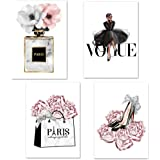 Lodintech Fashion Women Canvas Wall Art, Girls Bedroom Wall Decor, Pink Flowers Modern Art Posters, Perfume Handbags High Hee
