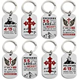(12-Pack) Christian Gift Keychains, Variety Pack - Wholesale Bible Keyrings for Bulk Religious Gifts, Baptism Party Favors an