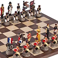 Hand Painted Napoleon & the Duke of Wellington Chessmen & Stuyvesant Street Chess Board by
