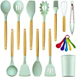MegiKio Silicone Kitchen Utensils Cooking Set-16PCS Kitchen Utensils Set with Wooden Handles-Include Turner Tongs Spatula Spo