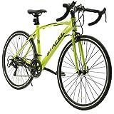 LUCK store ロードバイク スポーツバイク 700C シマノ14段変速 2WAYブレーキシステム搭載 ドロップハンドル 超軽量高炭素鋼フレーム ライトのプレゼント付き 自転車 01