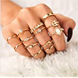 Cathercing Women Bohemian Knuckle Carved Flower Ring Vintage Silver Crystal Joint Knot Ring Set for Women and Girls Prom Part