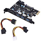 YEELIYA PCI-E Card to USB 3.0 Type C (2),Type A (3) 5-Port PCI Express Expansion Card with 15-Pin SATA Power Connector Supers
