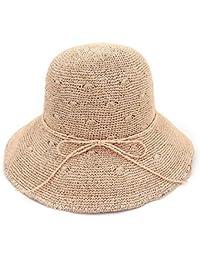 Ruiyue 夏ストロー帽子、夏Foldableストローちょう結び日帽子ファインハンドかぎ針編みのサンスクリーンビーチハット女性のための