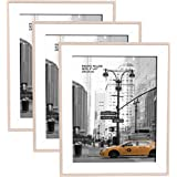 Metrekey 8x10 Picture Frame (3 Pack, Natural Woodgrain), Photo Frame 8x10 for Table Top Display and Wall Mounting Definition