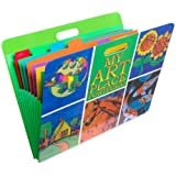 HearthSong Art Place Portfolio with Handles-8 Expandable Coded Accordion Files for Organizing Children's Artwork-19 H x 15.25