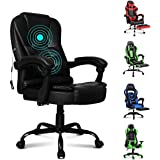 ALFORDSON Massage Office Chair Home Computer Desk Executive Swivel Chair in Black Colour PU Leather