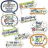 Big Dot of Happiness 面白い 80歳の誕生日 陽気な誕生日 カラフルな8歳の誕生日パーティー写真ブース小道具キット 10ピース
