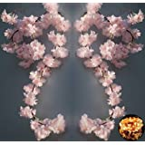 2 Pack Cherry Blossom Flower Vine with 100 LED String Light, Artificial Vines Garland Hanging Faux Silk Pink Flower Decor for