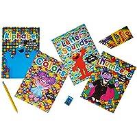 Sesame Streetブックセットof 4。(アルファベット、数字、色、& Letter Sounds。Plus Bonus 1ボックスofクレヨンand 1ジャンボ1付き鉛筆削り器(カラーMay Vary ) and 1パックのフラッシュカード。
