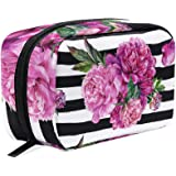ALAZA Purple Flower Black Stripes Makeup Case Bag Appropriate Capacity Portable Beauty Girl And Women Cosmetic Bags Storage B