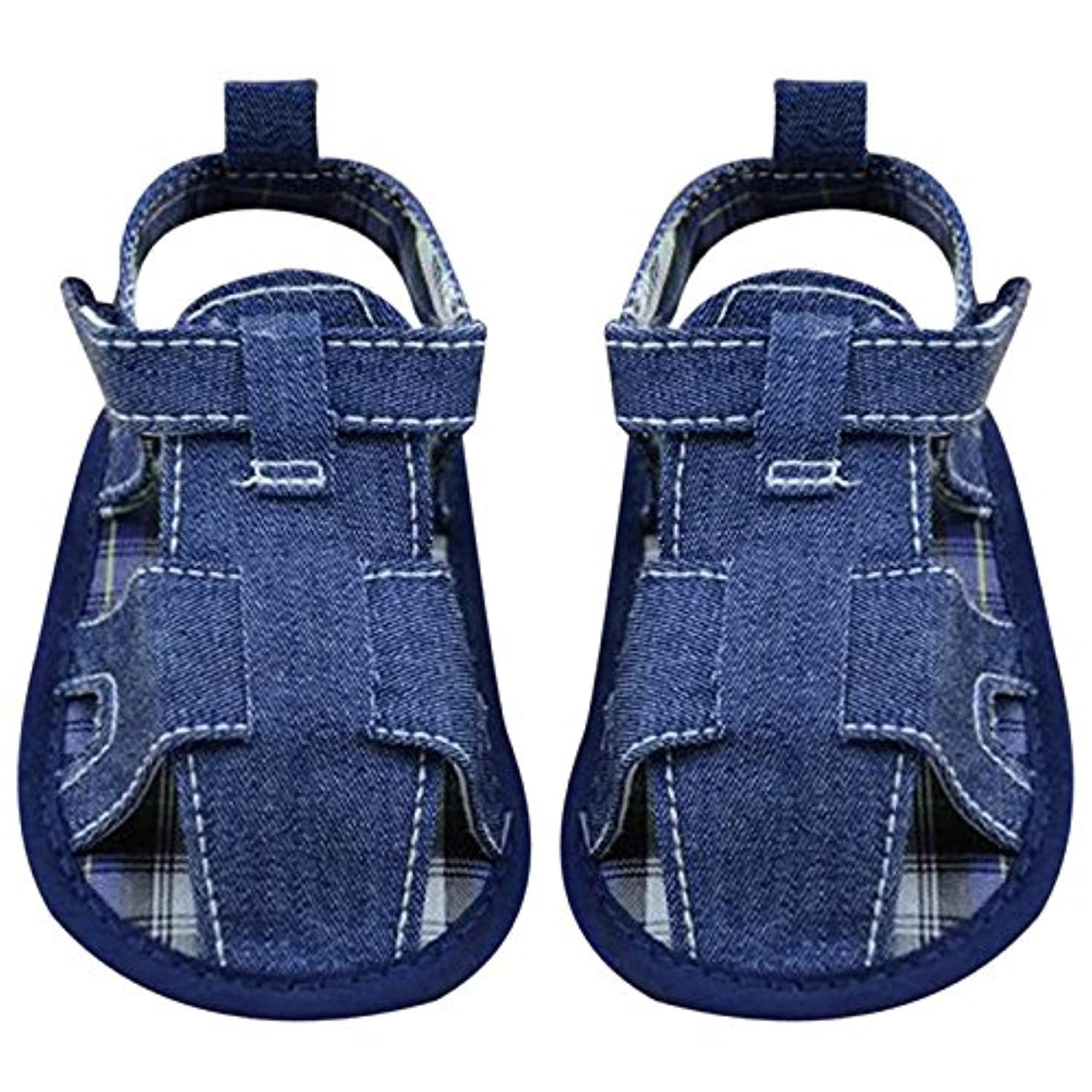 LuxBene(TM)BS#S 0-18M Summer Baby Classic Soft Sole Shoes Boys Cotton Toddler Sandals Blue Jean and White Sandals