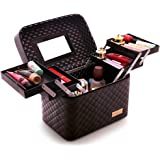 Sooyee Multifunction Travel Cosmetic Bag with Mirror, 4 Layer Drawers Foldable Tray Open to The Sides,Black Portable Train Ma