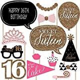 Chic 16th Birthday - Pink, Black and Gold - Photo Booth Props Kit - 20 Count