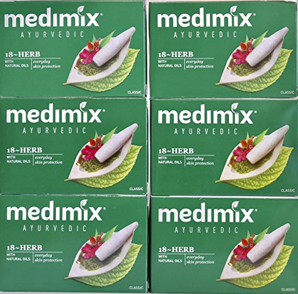 地味なパドルMEDIMIX メディミックス アーユルヴェーダ石鹸 18ハーブス6個セット
