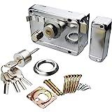 Xnrtop Home Door Gate Safety Vertical Keyway Cylinder Deadbolt Rim Lock Set