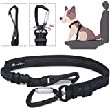 SlowTon Dog Car Seat Belt, Pet Seatbelt Clip Tether Puppy Safety Latch Bar Attachment Harness Leash Small Medium Large Dogs A