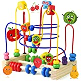 Fajiabao Bead Maze Toy for Toddlers Baby Activity Cube Fruits Roller Coaster Counting Math Abacus Montessori Toys Learning Bi