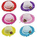 女の子用 花柄 麦わら織り 帽子 レース付き 女の子用 ティーパーティーハットセット 6点セット アソートカラー