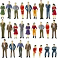 P50 100PCs Model Trains Architectural 1:50 Scale Painted Figures O Scale Sitting and Standing People for Miniature Scenes New