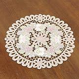 カロチャ調刺繍&カットワークドイリー(花瓶敷き)約25cmR(円形) (ホワイト )