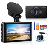 Dash Camera for Cars Super Night Vision Dash Cam Front and Rear 1080P FHD DVR Car Dashboard Camera with 170°Wide Angle, G-Sen