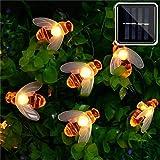 er chen solar powered string lights, 30 cute honeybee led lights, 4.6m 8 modes starry lights, waterproof fairy decorative lig