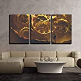 wall26-3 Piece Canvas Wall Art - Illustration - Man Standing in Front of The Big Golden Clockwork,Illustration Painting - Mod