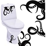 15 Pieces Kraken Octopus Toilet Decor Sticker Octopus Toilet Home Decal Black Sea Creature Wall Art Sticker Tentacles Bathroo