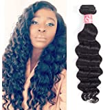 LS Hair Peruvian Loose Deep Wave One Bundle 18 inch Unprocessed Virgin Human Hair Weave Natural Black Color