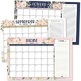 Navy Floral 2021-2022 Desk Calendar, Large Monthly Wall Planner, 18 Month Academic Desktop Calendar or Fridge Planning Blotte