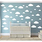 31 pcs Mix Size 4-10 inch White Clouds Wall Decal Sticker for Kids Bedroom Decor -DIY Home Decor Vinyl Clouds Mural Baby Nurs