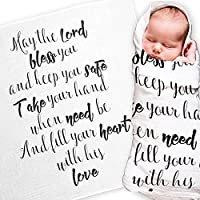 May the Lord Baby Swaddle Blanket by Ocean Drop Designs - Muslin Swaddle Wrap with Scripture Quote for Baby Shower, Christening Gift or Baptism Gift - Receiving Blanket, Privacy Throw - 100% Cotton by Ocean Drop Designs
