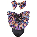 ASTRILL Toddler Little Girls Ruffled Back Tie One Piece Swimsuit with Self-Tie Headband