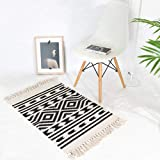 Cotton Printed Rug, Seavish Decorative Nordic Geometric Hand Woven Rag Rug Entryway Thin Throw Rug 20''W x 31''L for Living R