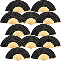 (Black) - 12 Pack Hand Held Fans Silk Bamboo Folding Fans Handheld Folded Fan for Church Wedding Gift, Party Favours, DIY Decoration (Black)
