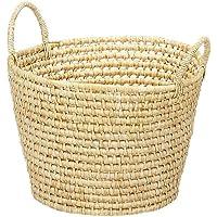 大橋新治商店 手作りバスケット Maize & Fabric Basket 丸型 特大