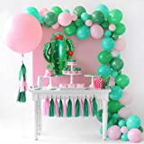 """GIHOO Balloon Garland Kit Pink Green Arch Giant Cactus Balloon 36"""" Pink Round Balloon 80pcs Latex Balloons with Paper Tassels"""