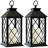 """Bright Zeal 14"""" TALL Black Vintage Candle Lantern with LED Flickering Flameless Candles and Timer (Batteries Included) - Cand"""