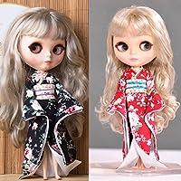 Lovoski 2個入り 12インチブライス人形対応 ドールドレス 衣装 ドレスアップ 人形 服 綿 着物 和服 (黒と赤色)