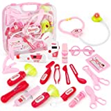JoyGrow Doctor Kit with Electronic Stethoscope 19 PCS Pretend Play Medical Toys Set Pack in Pink Durable Gift Case Doctor Toy