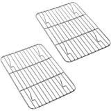 P&P CHEF Baking Rack Pack of 2, Stainless Cooling Rack for Cooking Baking Roasting Grilling Drying, Rectangle 8.6'' x 6.2'' x
