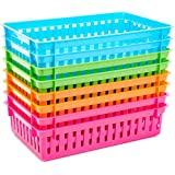 Bright Creations Plastic Classroom Storage Baskets (8 Pack) 4 Colors