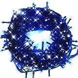 iimono117 イルミネーション LED 屋外 300灯 300球 連結 可能 防水 防滴型 8パターン 点灯 コントローラー付 全長 約10.5~11m クリスマス (ブルーホワイト) /2000球まで連結可能