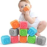 TUMAMA Baby Blocks,Soft Baby Building Blocks for Toddlers,Teething Chewing Toys Educational Baby Bath Toys Play with Numbers,