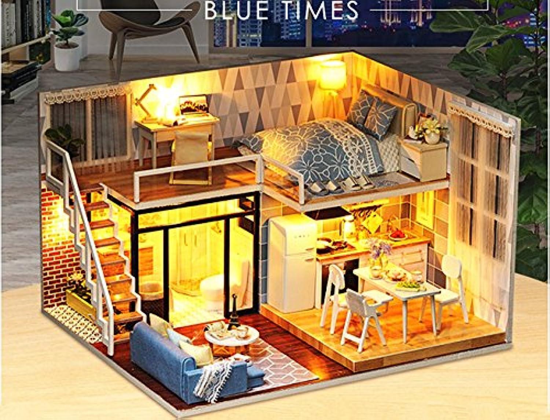 (ユンコ)Yunko Blue Times ドールハウス ミニチュア LEDとオルゴール付属 防塵ケース付属 手作りキットセット
